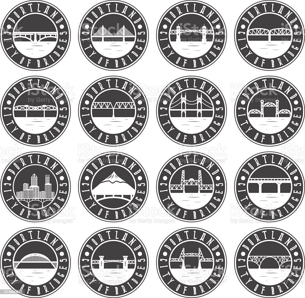 Vintage labels set of Portland , Oregon , USA vector art illustration