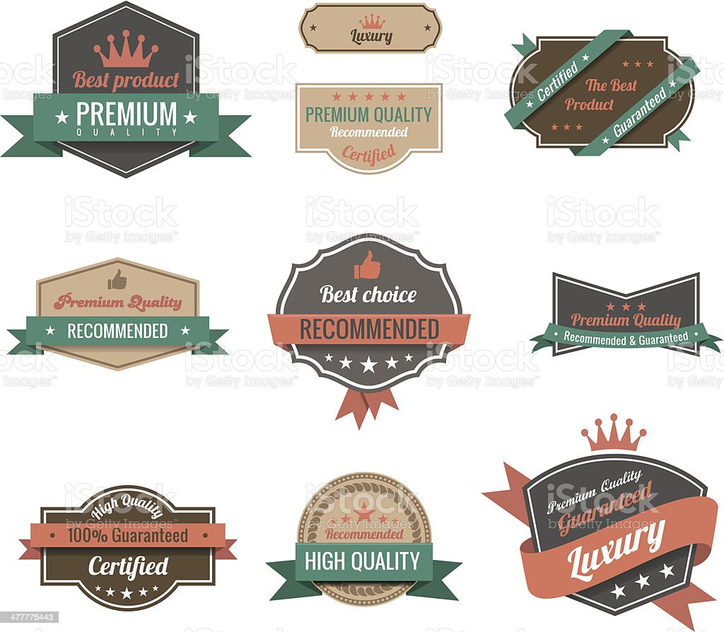 Vintage labels set. Retro Logo design template. Copyspace vector art illustration