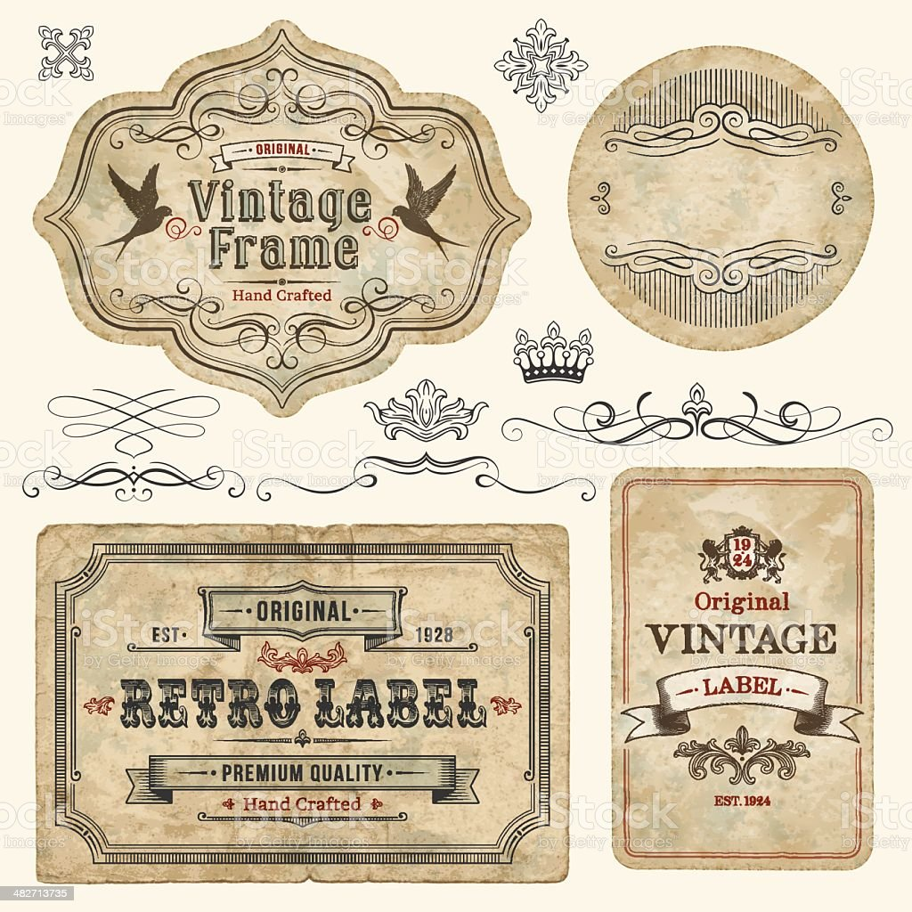 Vintage Labels stock vector art 482713735 | iStock