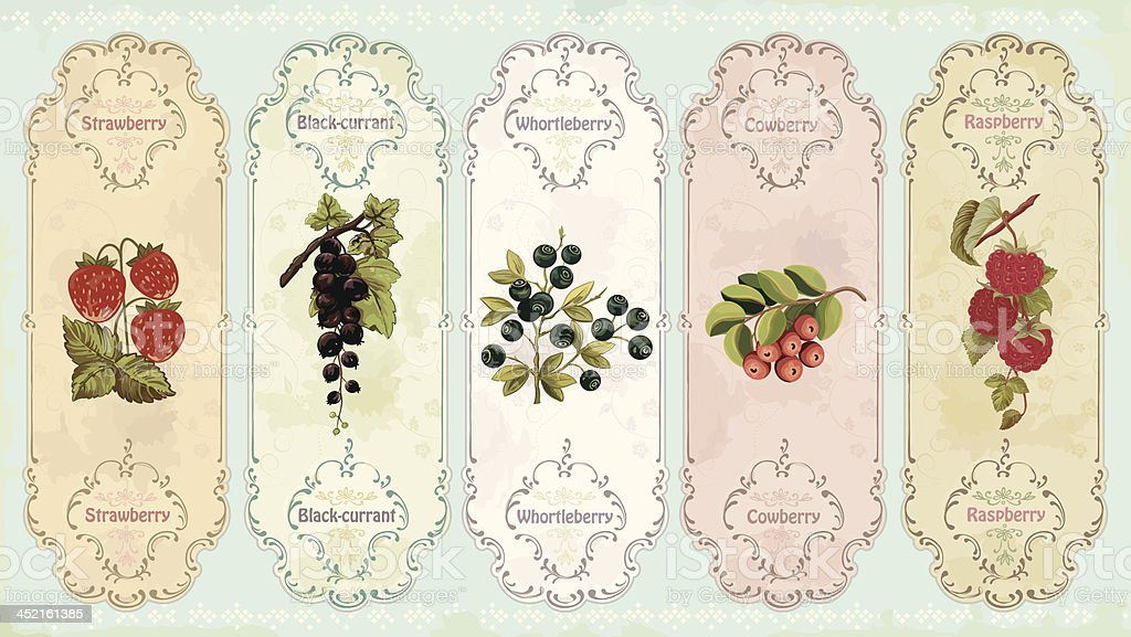 Vintage labels with berries royalty-free stock vector art