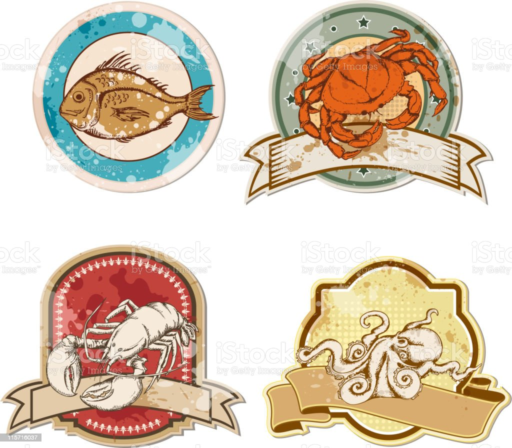vintage labels with seafood vector art illustration