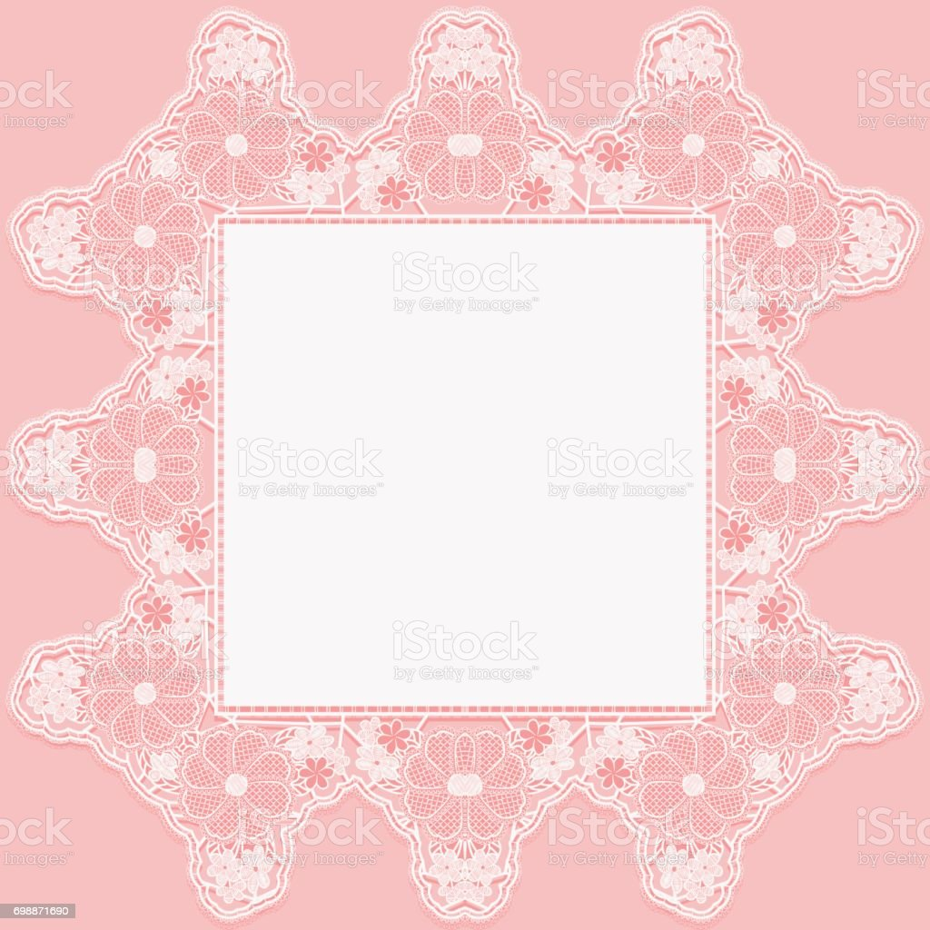 Vintage lace doily with knotted flowers on pink background. vector art illustration