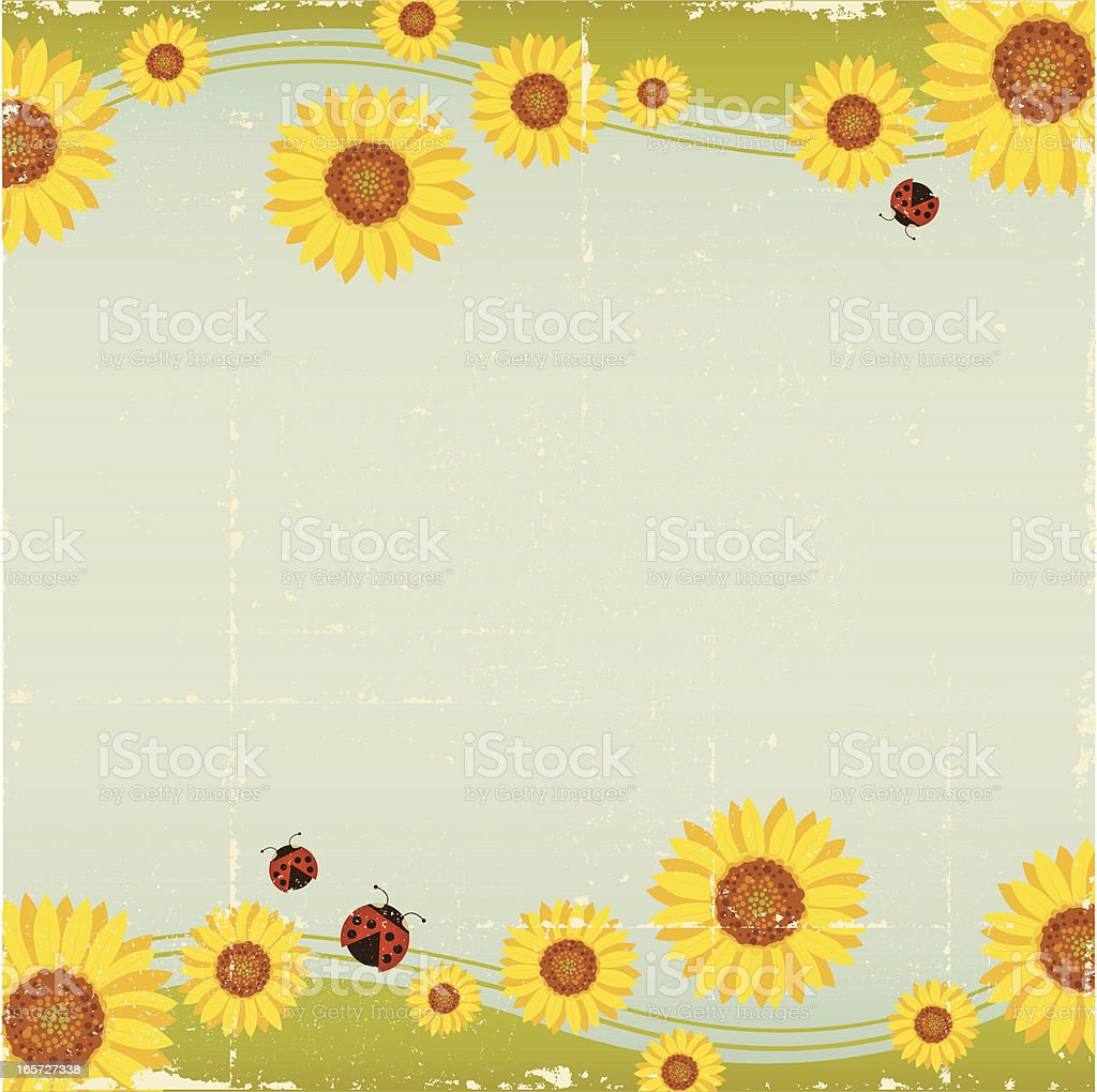 Vintage Ladybug and Flower Background royalty-free stock vector art