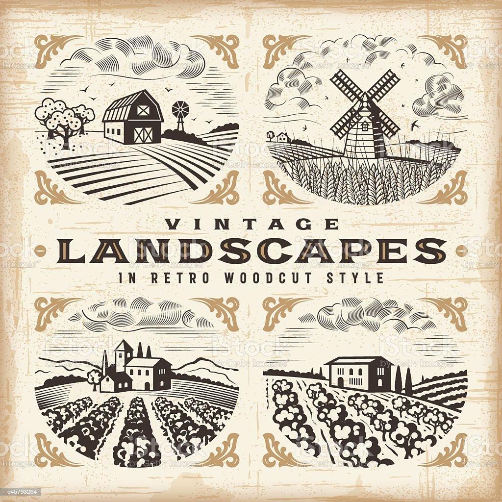 Vintage landscapes set vector art illustration