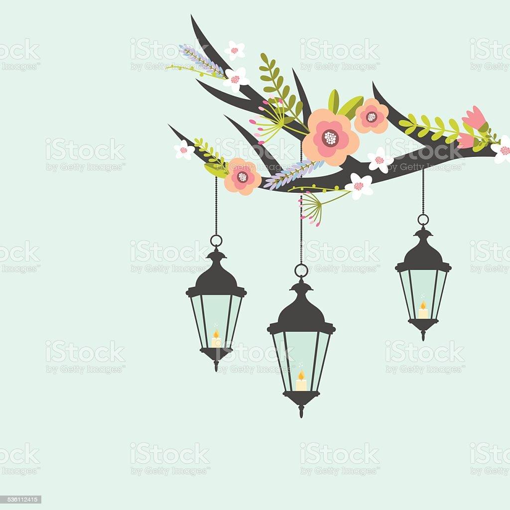 Vintage lanterns background vector art illustration