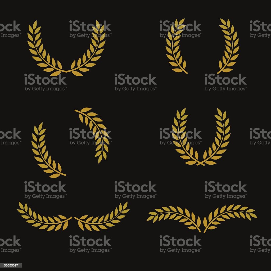 Vintage laurel award signs. vector art illustration