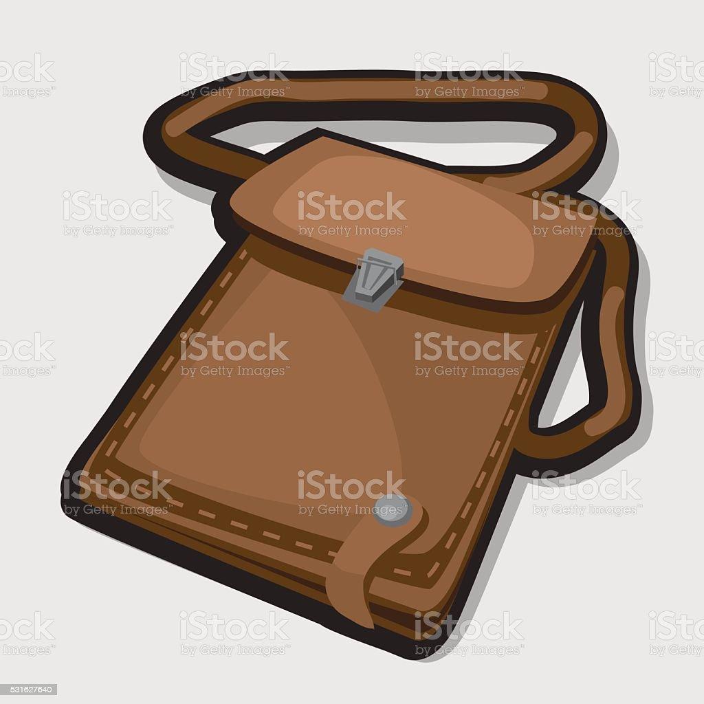 Vintage leather brown bag vector art illustration