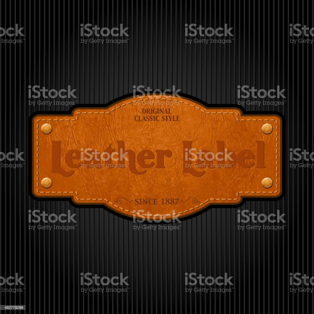 Vintage leather label attached to a pinstripe background vector art illustration