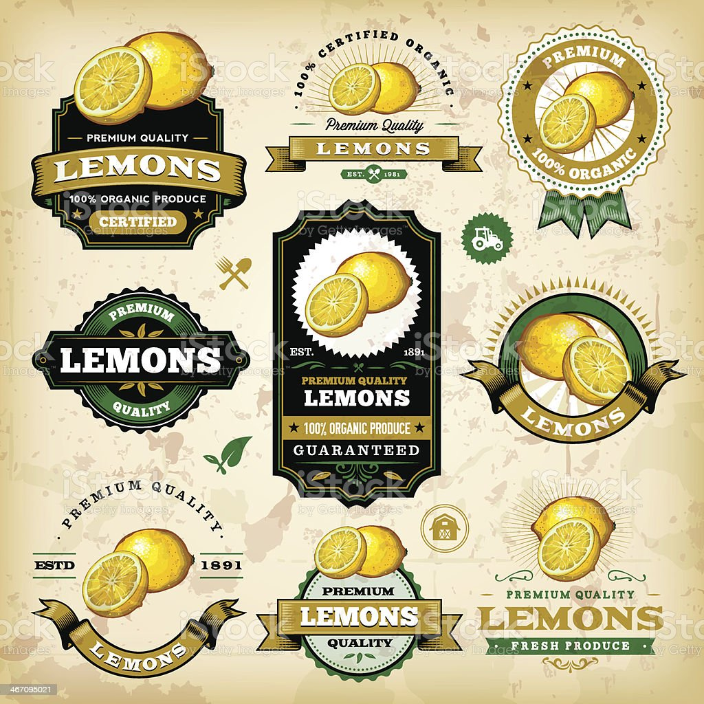 Vintage Lemon Labels vector art illustration