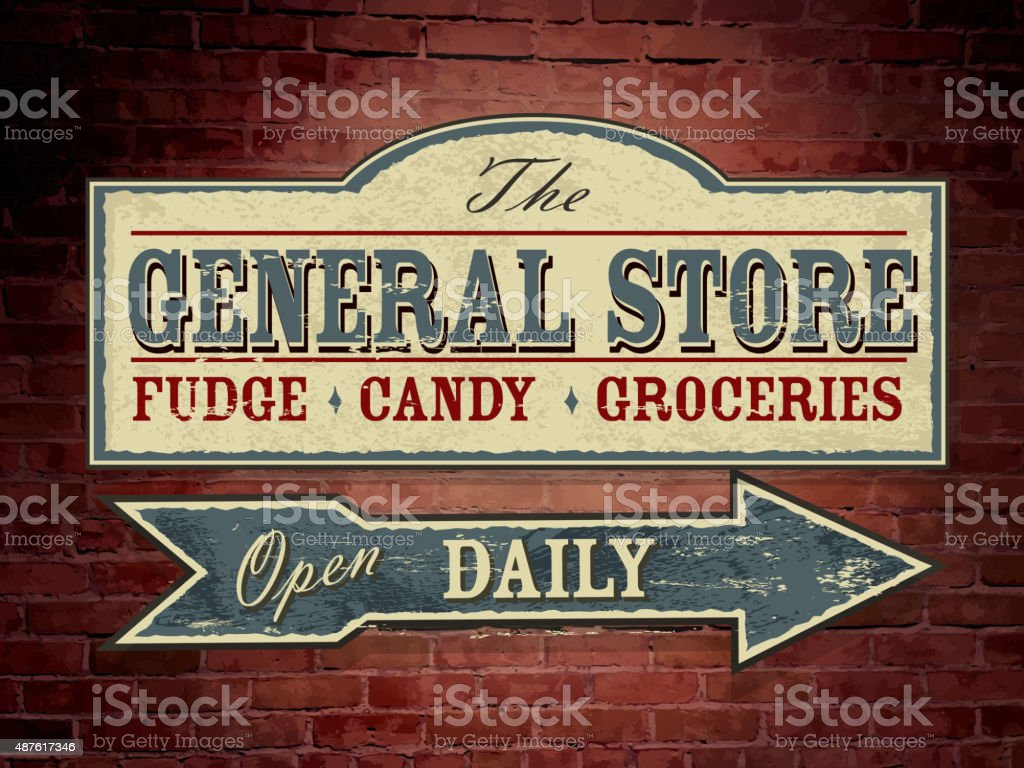 Vintage light blue wooden General Store signage on brick wall vector art illustration