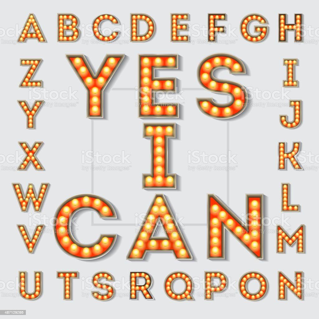 Vintage light bulb letters. vector art illustration