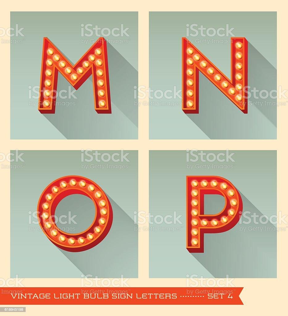 Vintage light bulb sign letters m, n, o, p vector art illustration