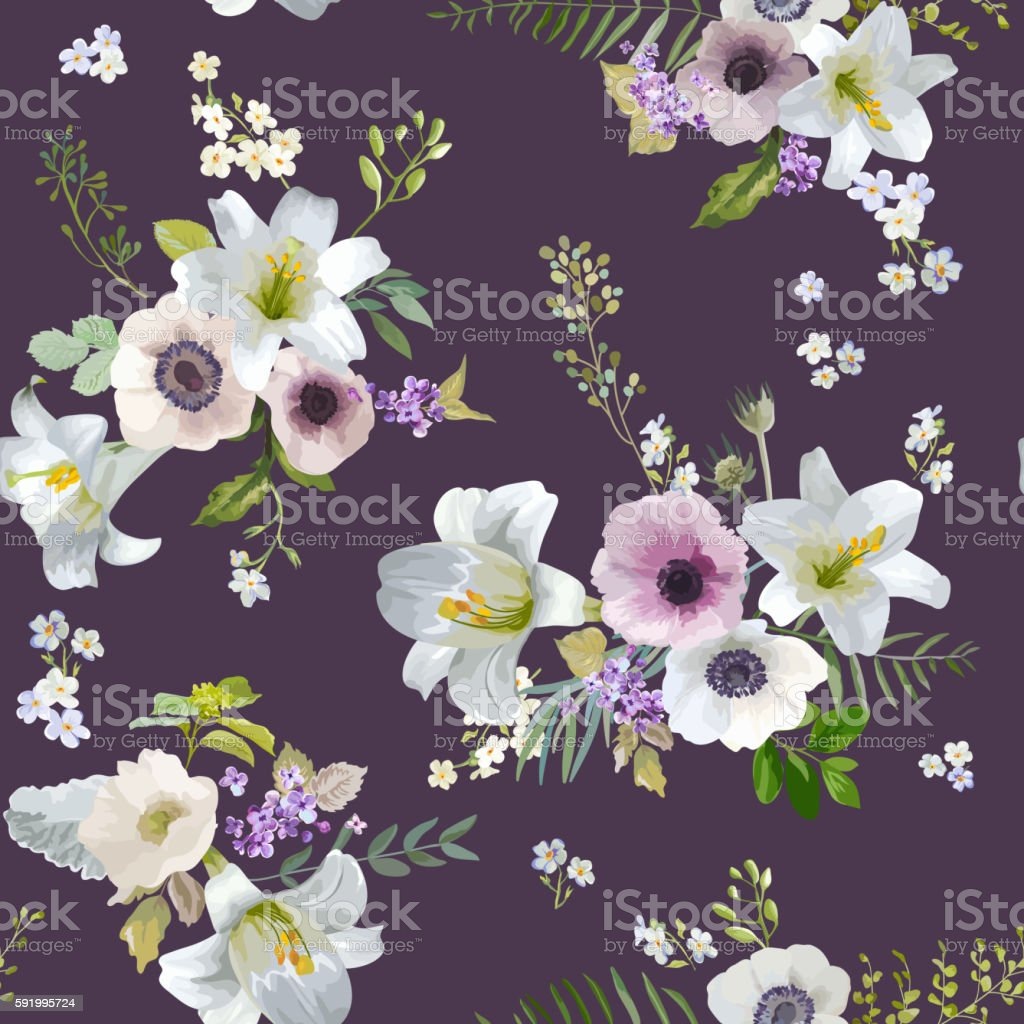 Vintage Lily and Anemone Flowers Background - Summer Seamless Pattern vector art illustration