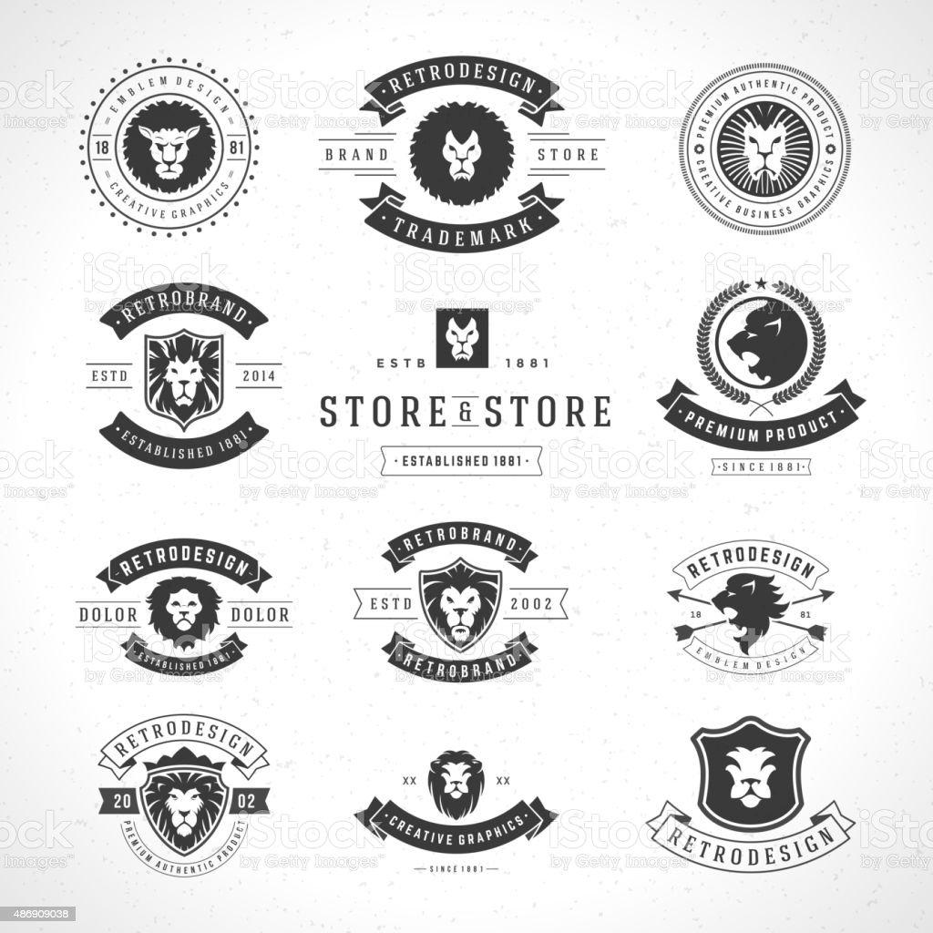 Vintage Lion Logotypes set vector art illustration