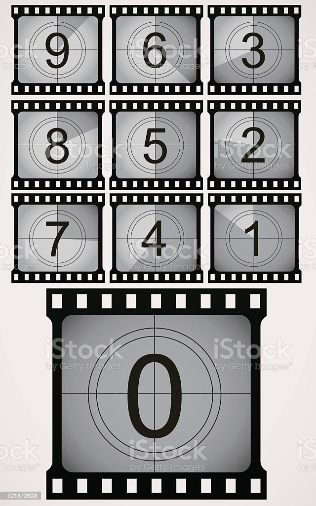 Vintage looking, movie counting down. vector art illustration