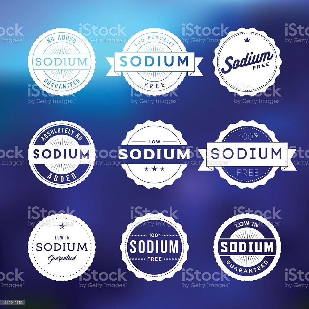 Vintage Low Sodium Food Labels Icon Set vector art illustration