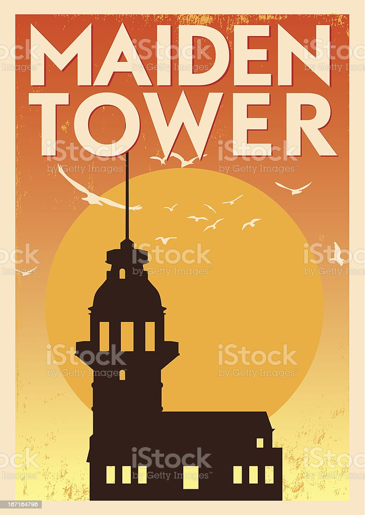 Vintage Maiden Tower Poster royalty-free stock vector art