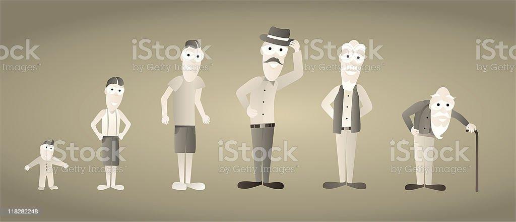 Vintage Man Growing old / Aging royalty-free stock vector art