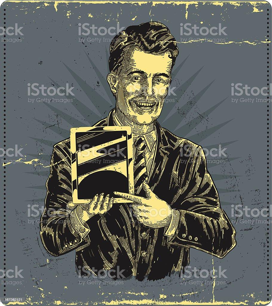 vintage man, holding tablet device vector art illustration
