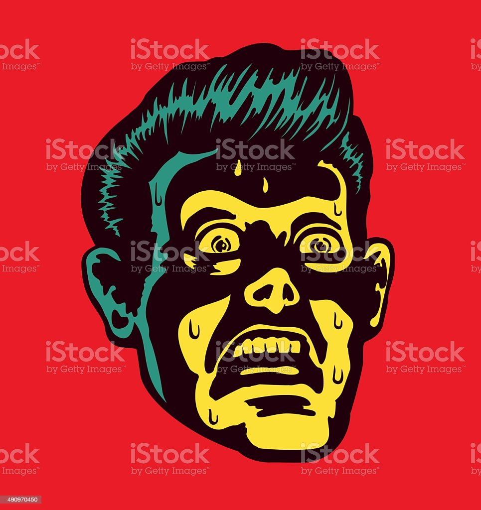 Vintage man with terrified face expression staring at something mind-blowing vector art illustration