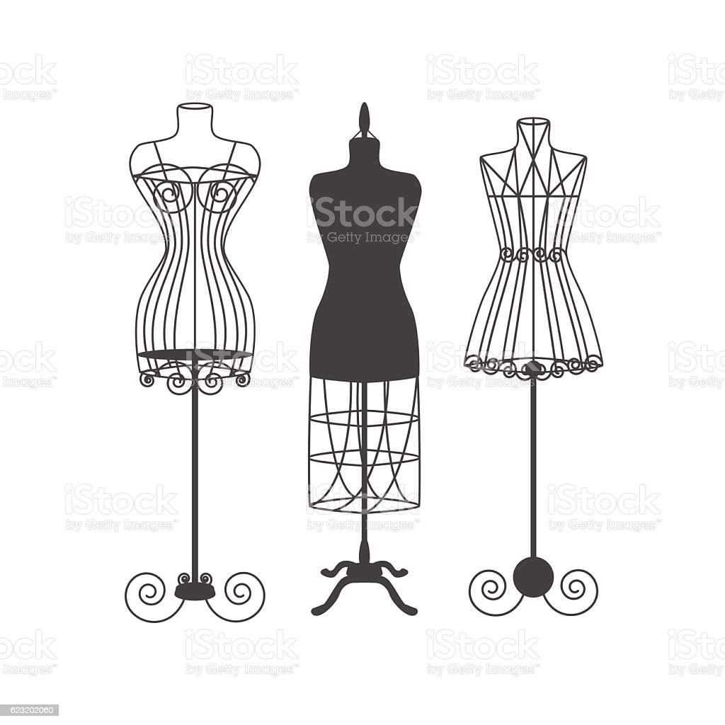 Vintage Mannequin or Dummies Black Silhouette Vector vector art illustration