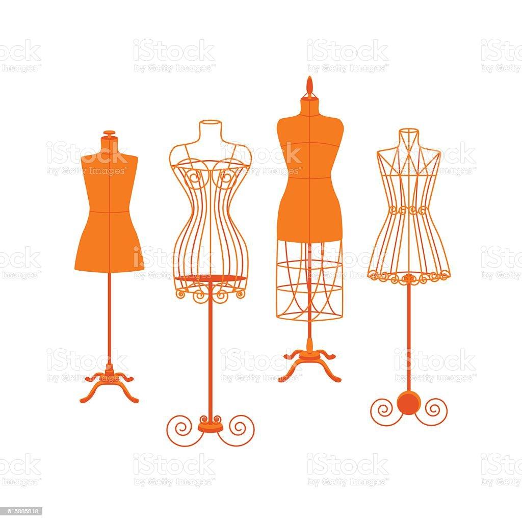 Vintage Mannequin or Dummies Color Set Flat. Vector vector art illustration