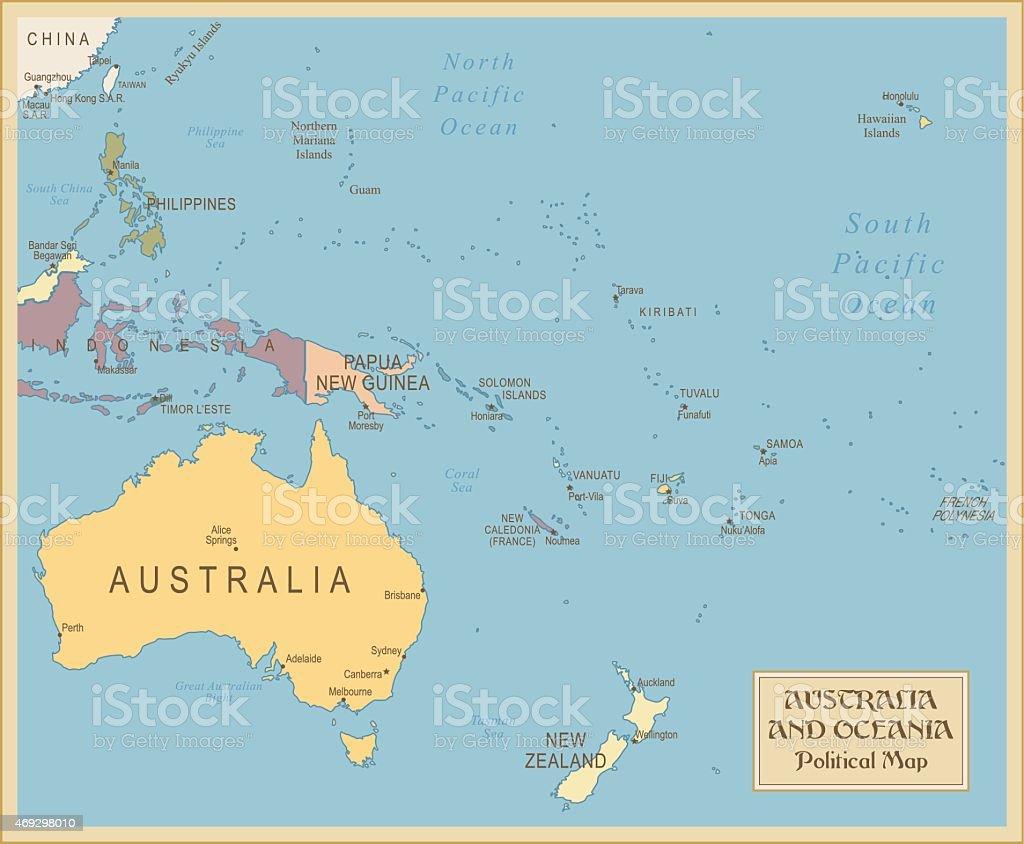 Vintage Map of Australia and Oceania vector art illustration