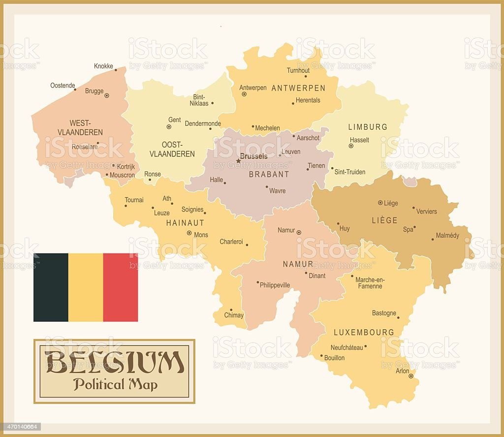 Vintage Map of Belgium vector art illustration
