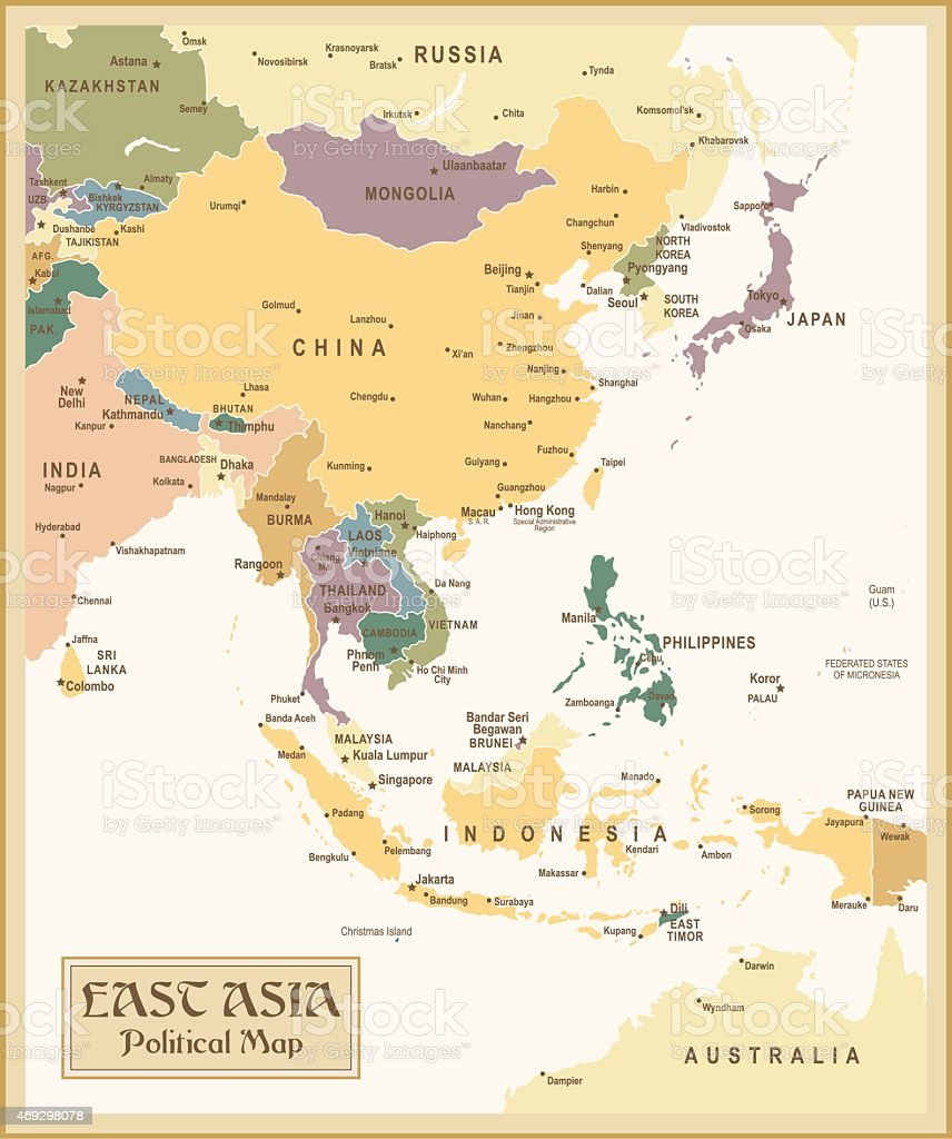 Vintage Map of East Asia vector art illustration
