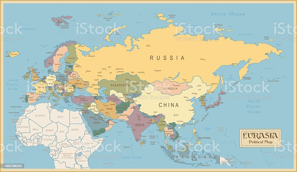 Vintage Map of Eurasia vector art illustration