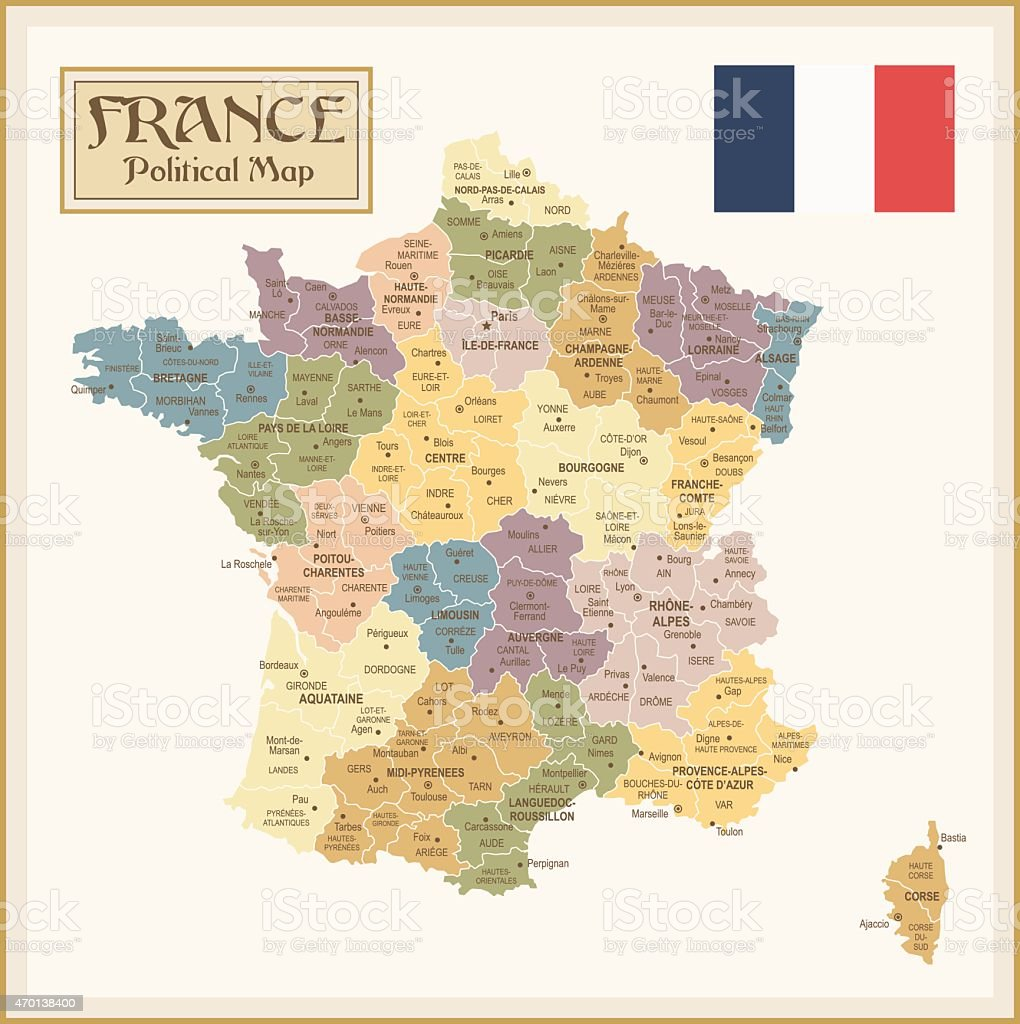 Vintage map of France with different regions vector art illustration