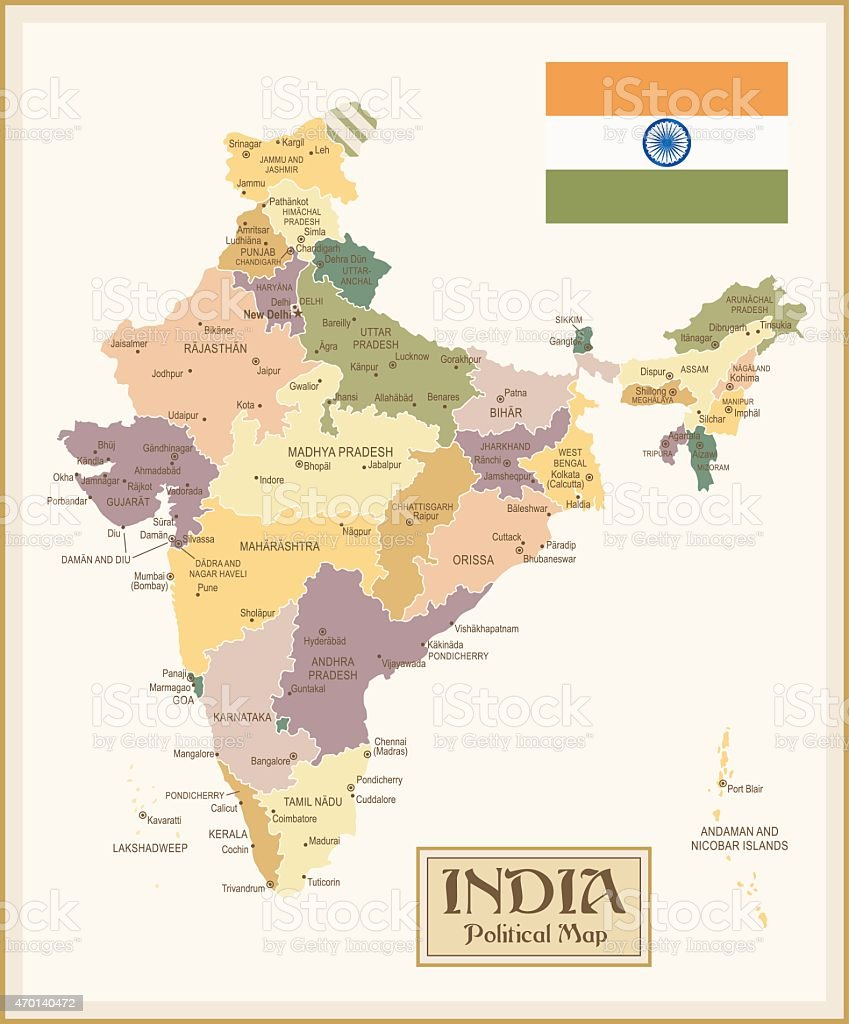 Vintage Map of India vector art illustration
