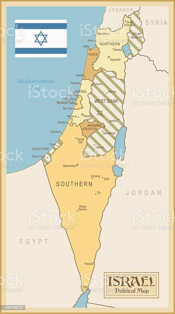 Vintage Map of Israel vector art illustration