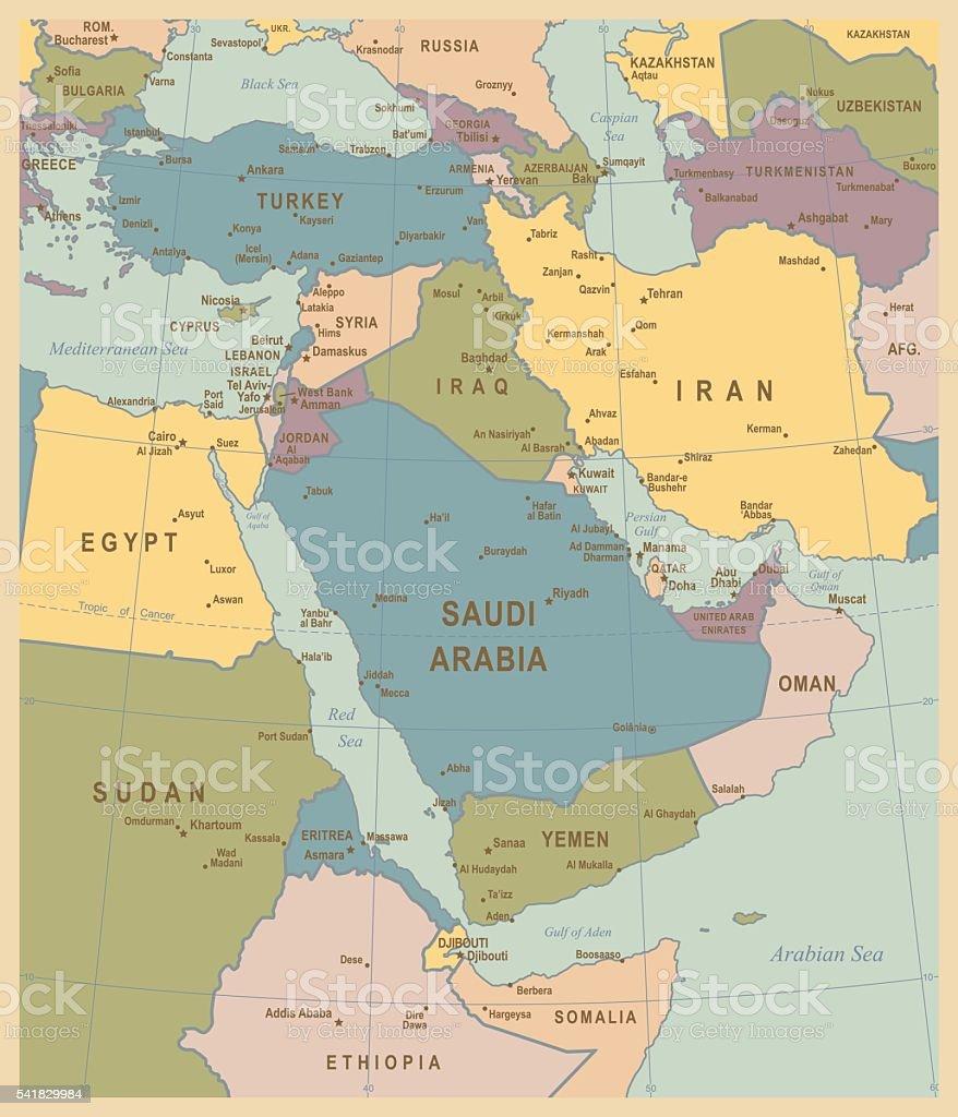 Vintage Map of Middle East vector art illustration