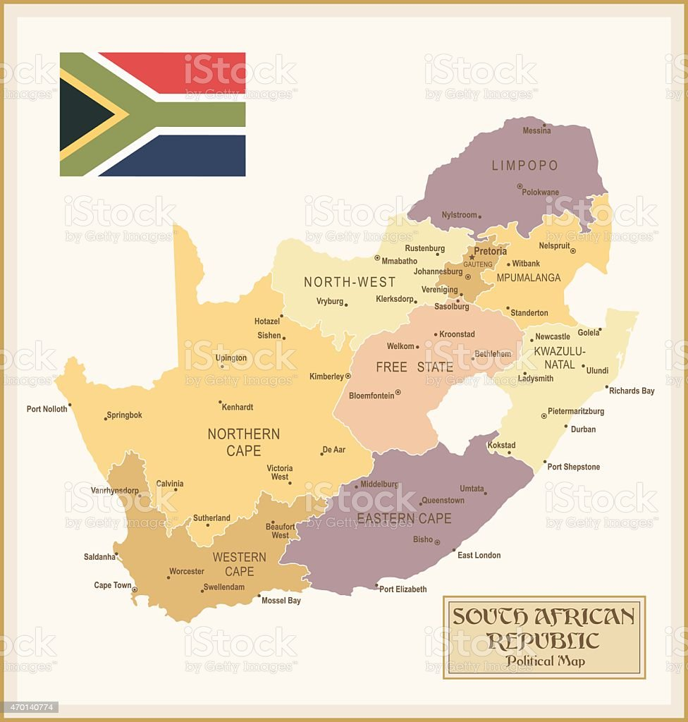 Vintage Map of South Africa vector art illustration