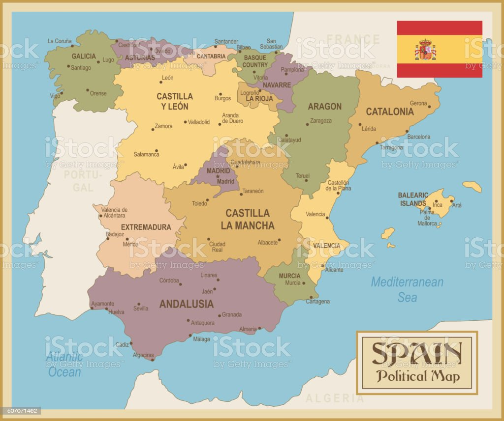 Vintage map of Spain - illustration vector art illustration