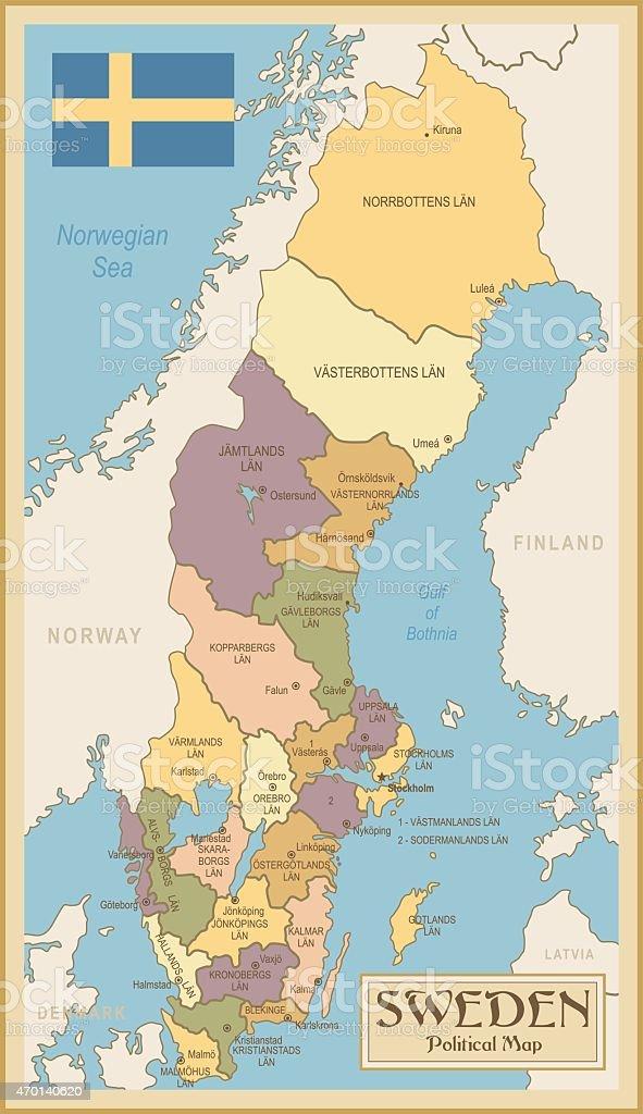 Vintage Map of Sweden vector art illustration