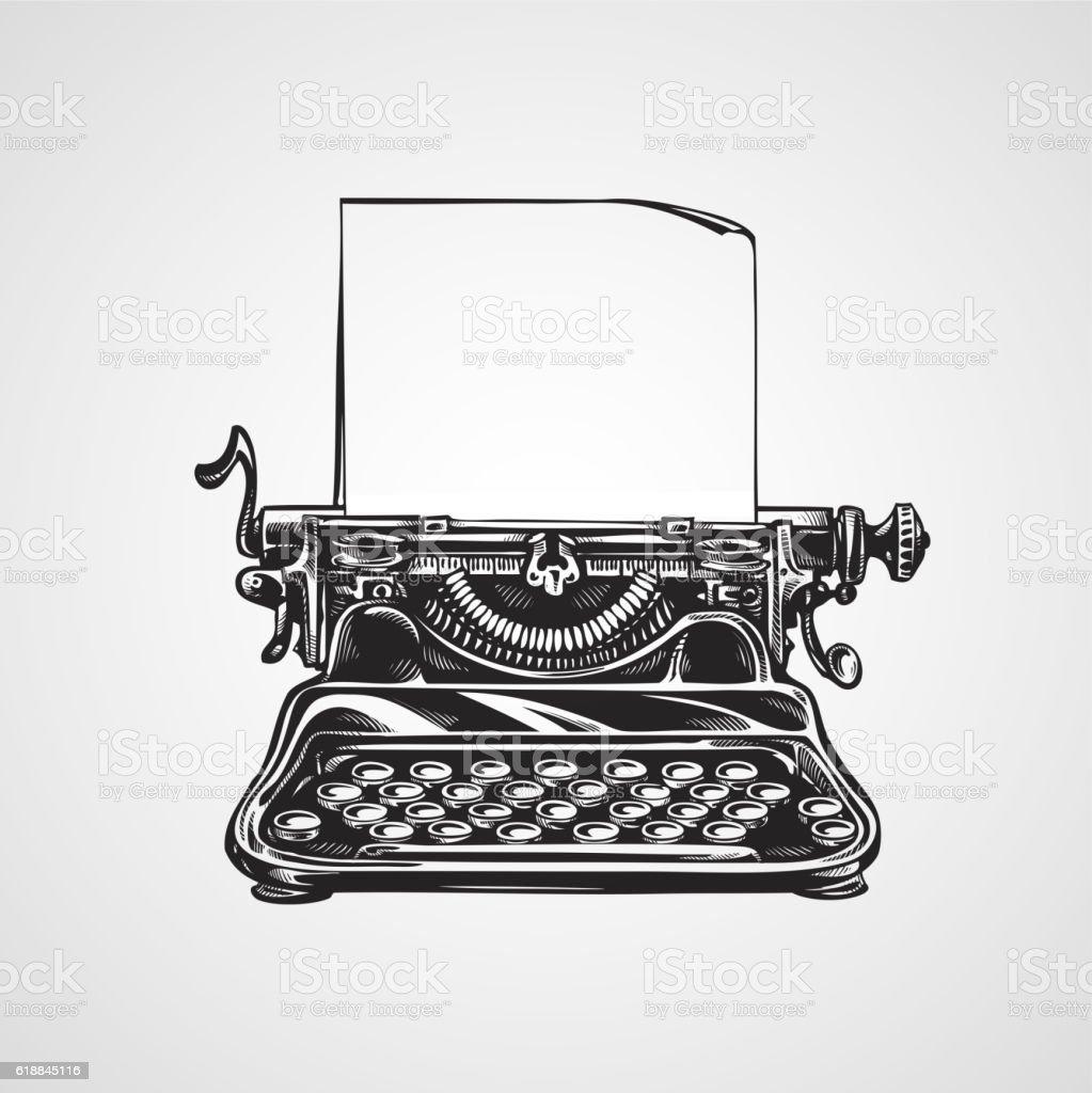 Vintage mechanical typewriter. Sketch vector illustration vector art illustration