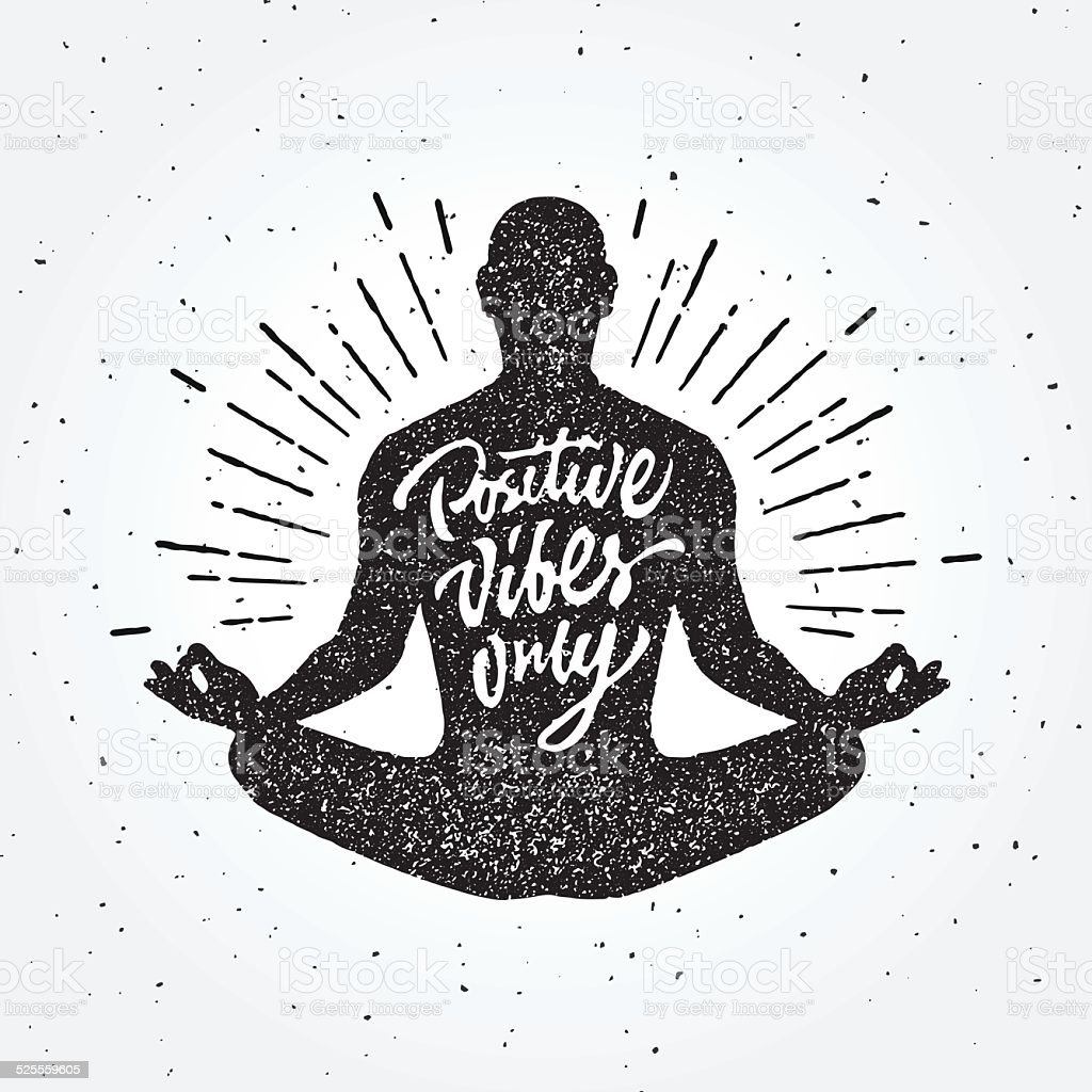 Vintage Meditation apparel print t-shirt design vector art illustration
