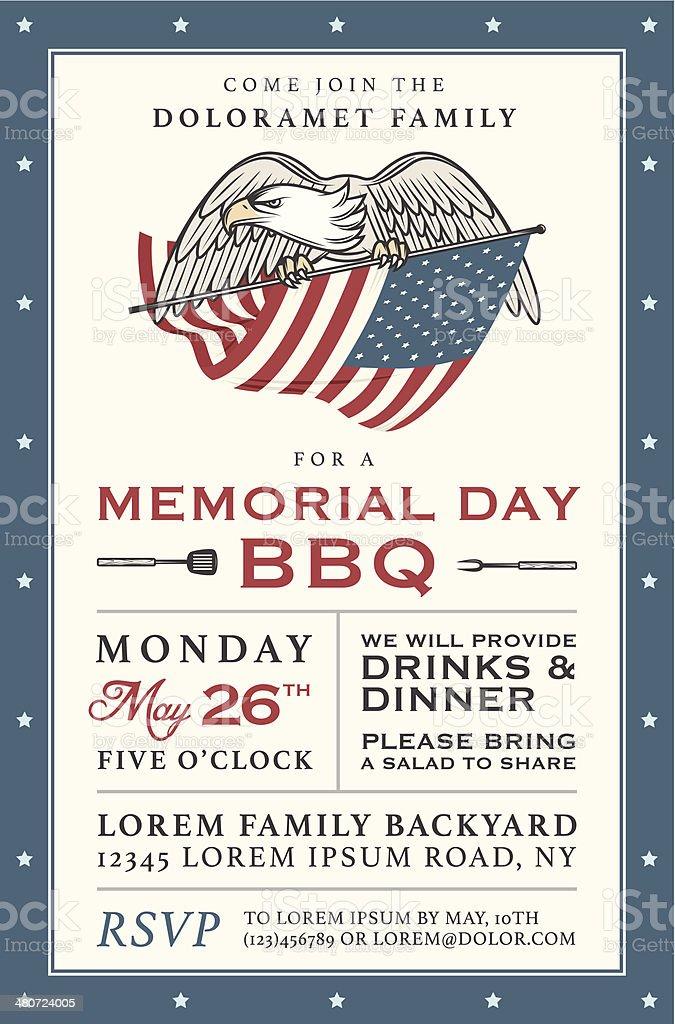 Vintage Memorial Day barbecue invitation vector art illustration