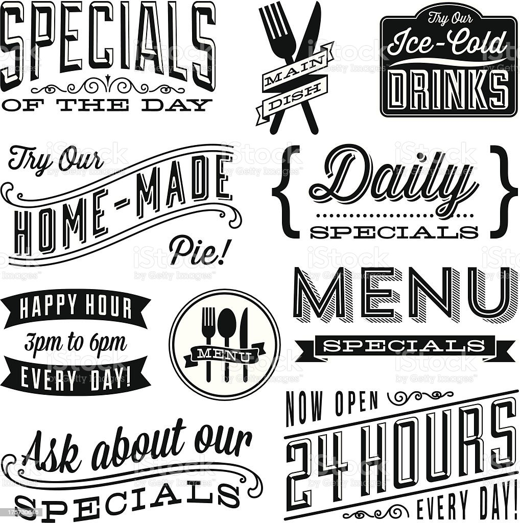 Vintage Menu Designs vector art illustration