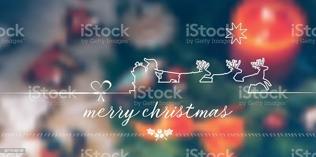 vintage merry christmas line symbol on  blurred christmas background vector art illustration