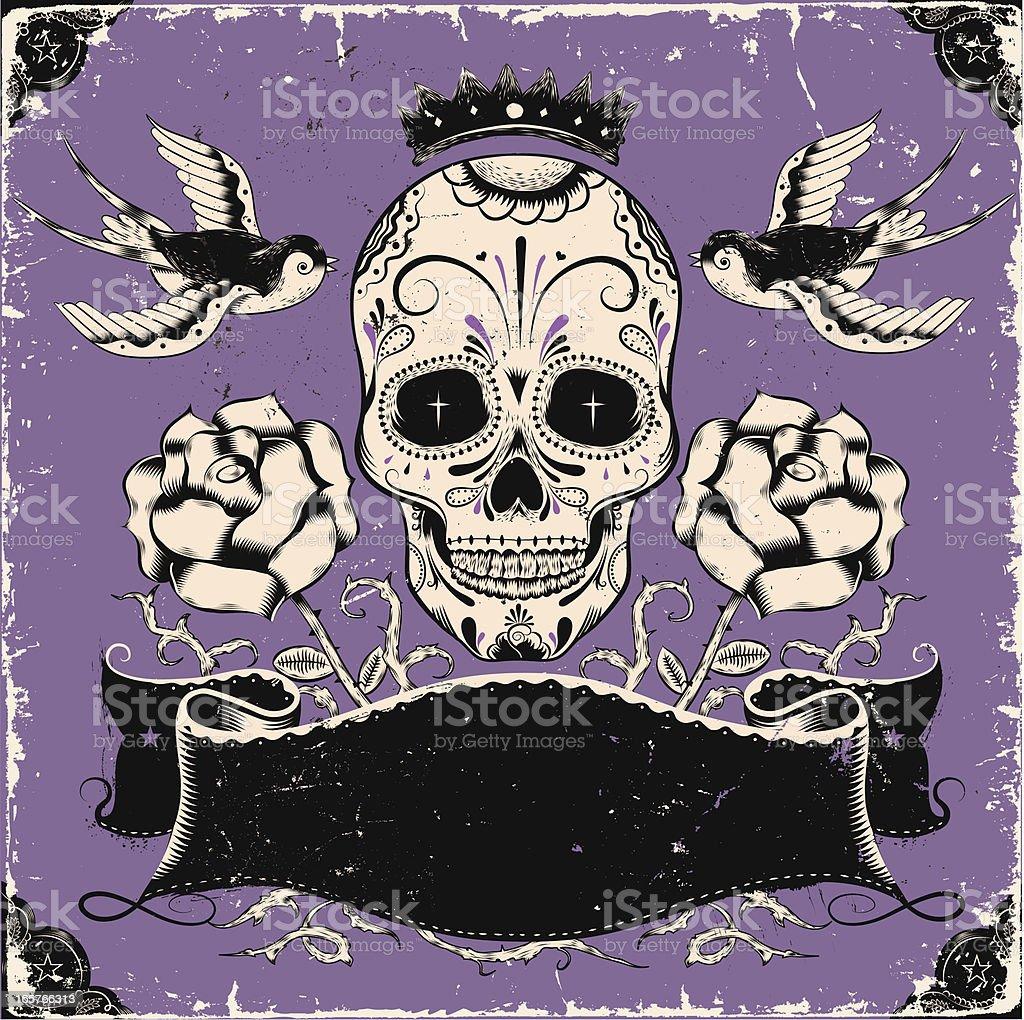 Vintage mexican skull vector art illustration