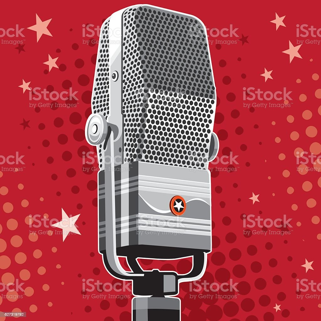 Vintage microphone party vector art illustration