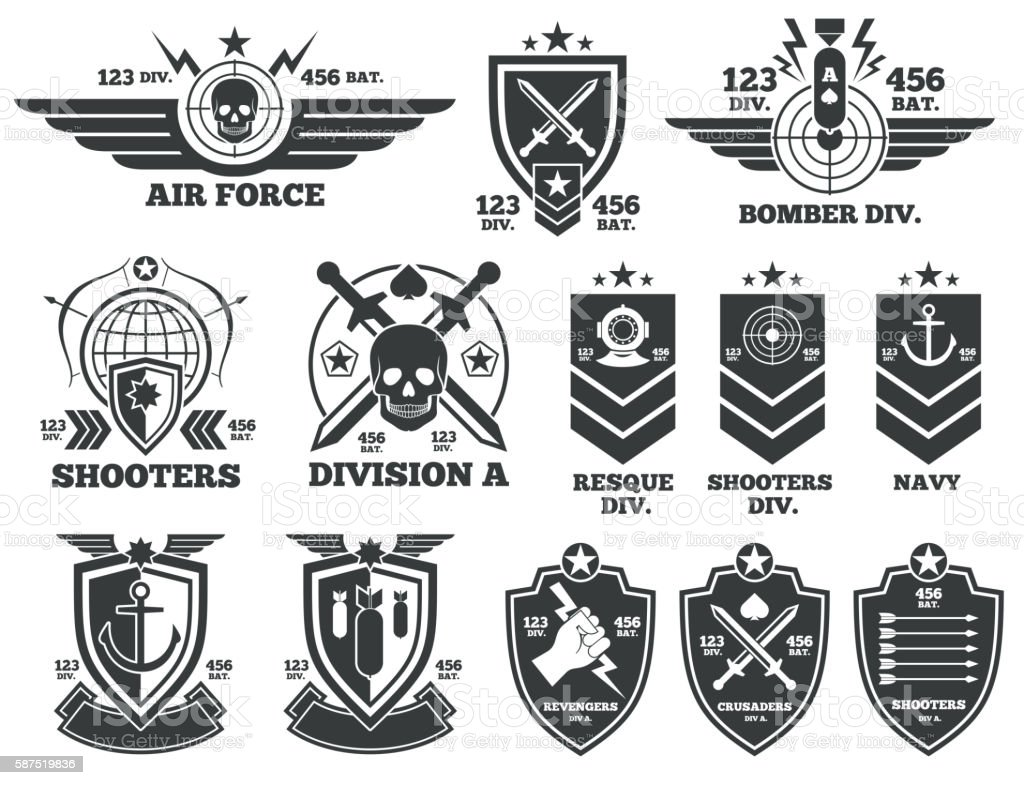 Vintage military vector labels and patches vector art illustration