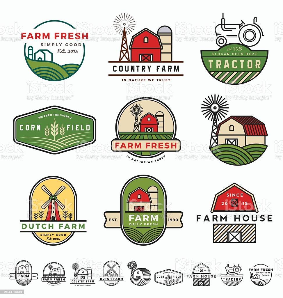 Vintage modern farm logo vector art illustration
