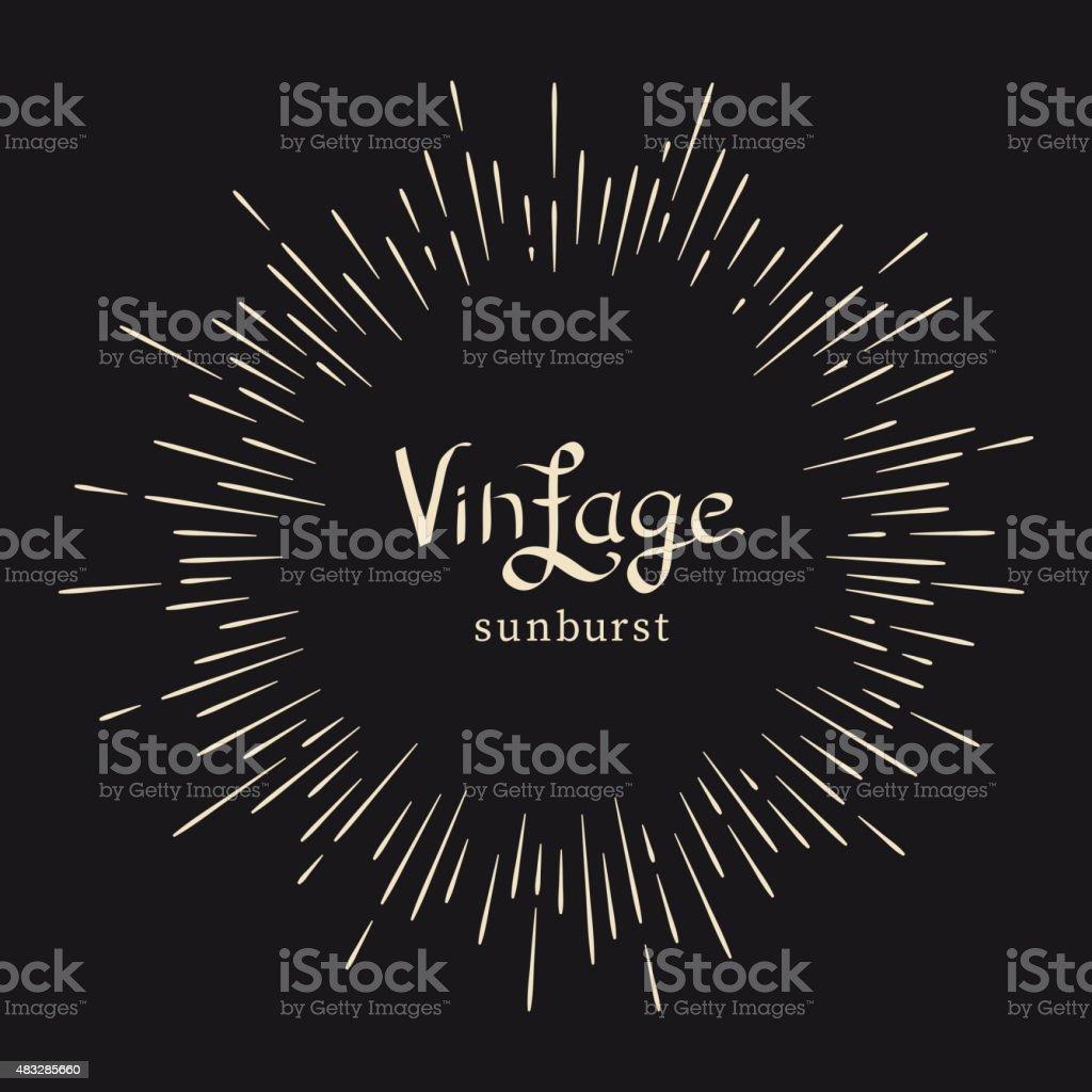 Vintage monochrome starburst vector art illustration