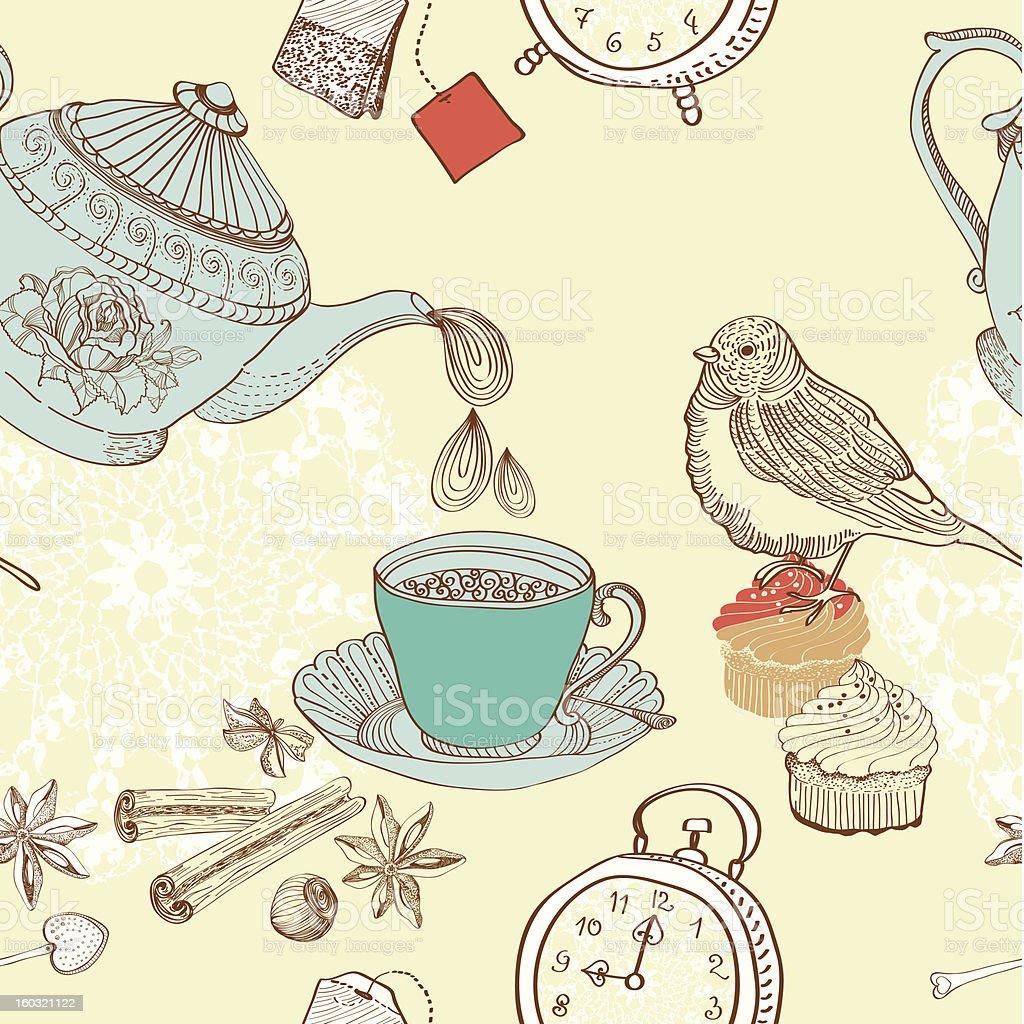 vintage morning tea background royalty-free stock vector art