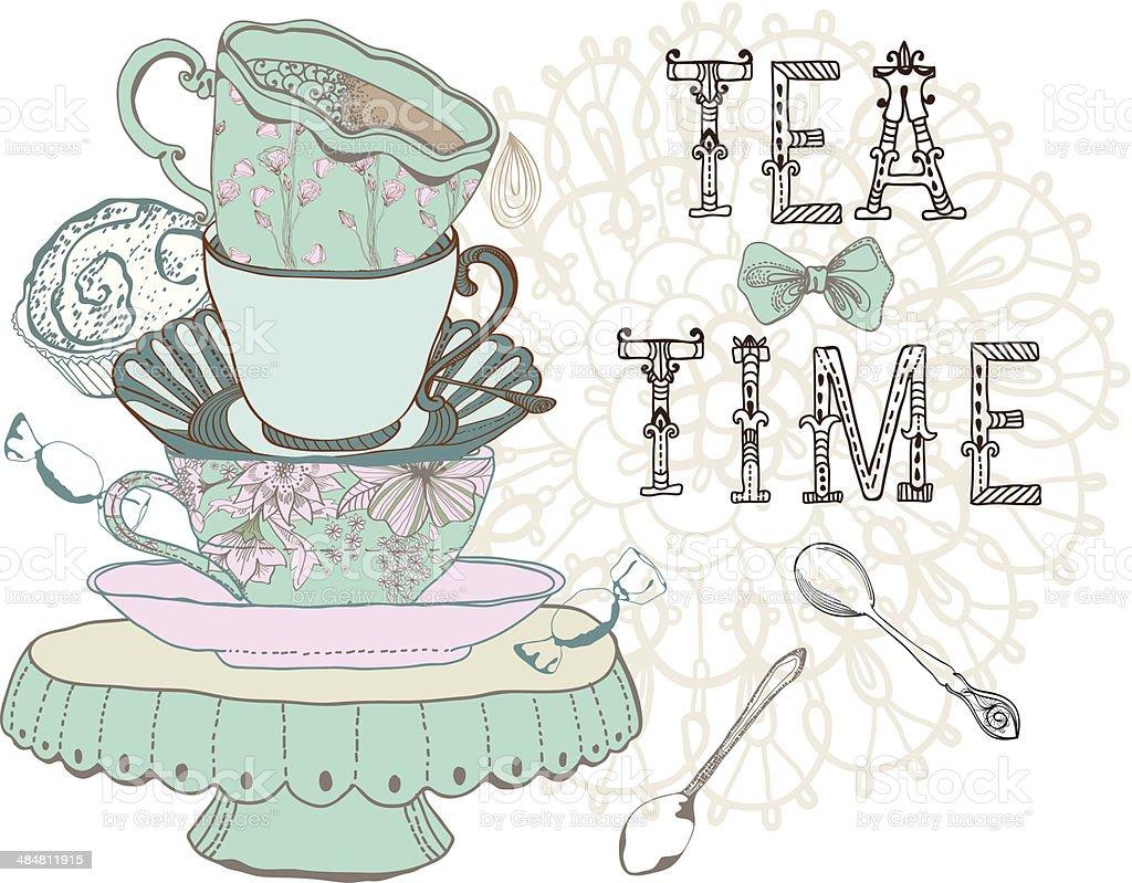 Vintage morning tea time background vector art illustration