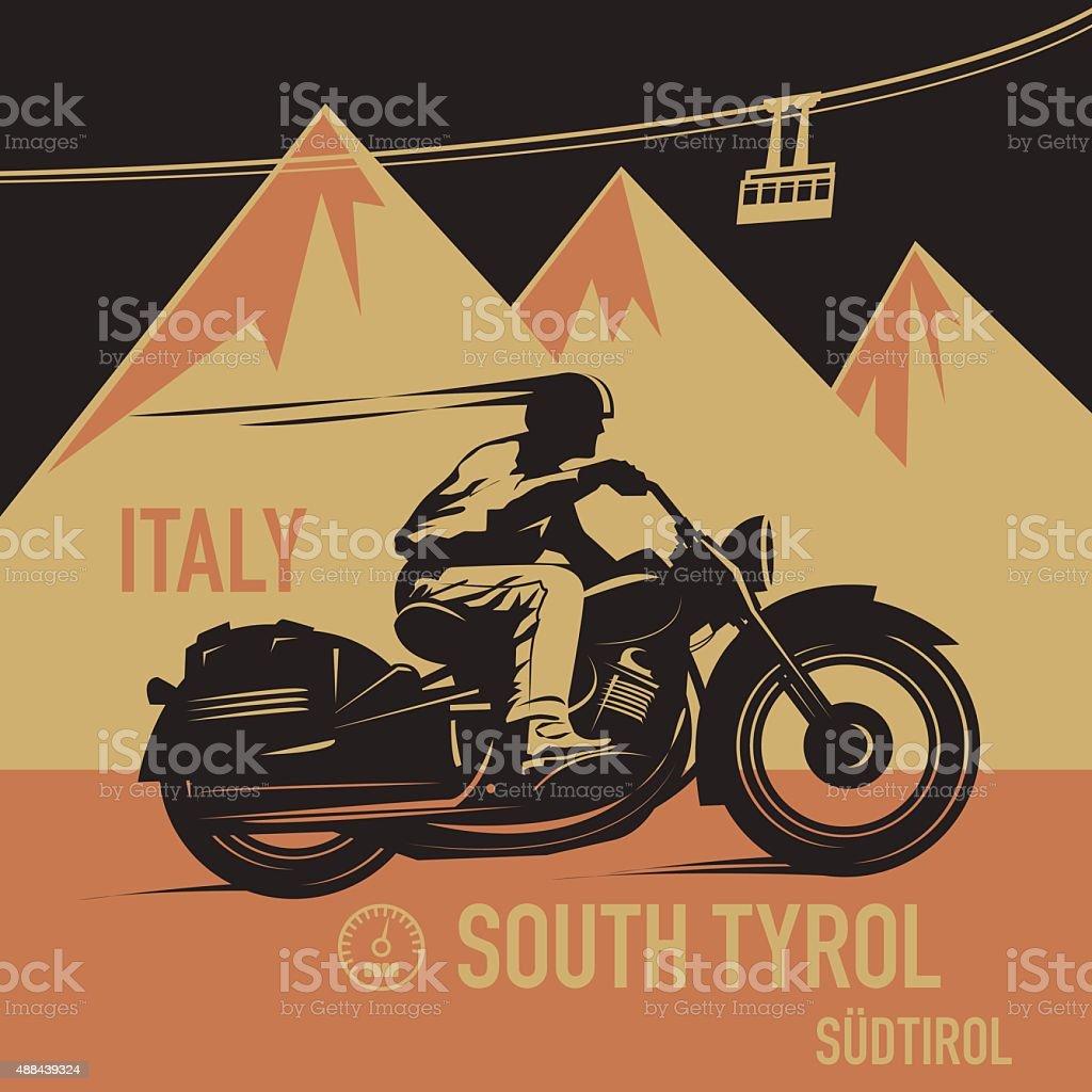 Vintage Motorcycle adventure poster vector art illustration
